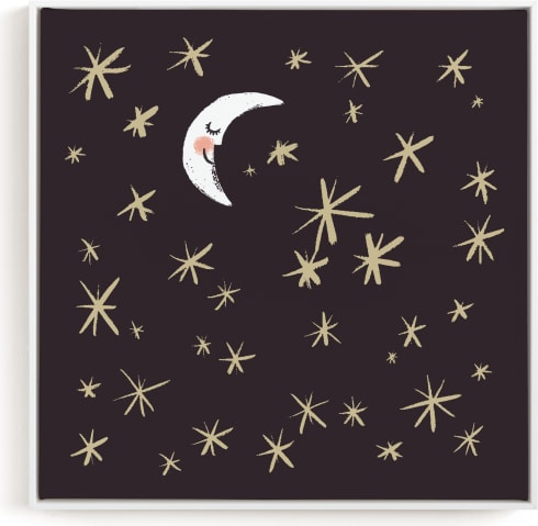 This is a black and white kids wall art by Patrice Horvath called Good Night Moon and Stars.