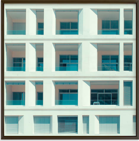 This is a blue art by Jacob Loafman called french squares.