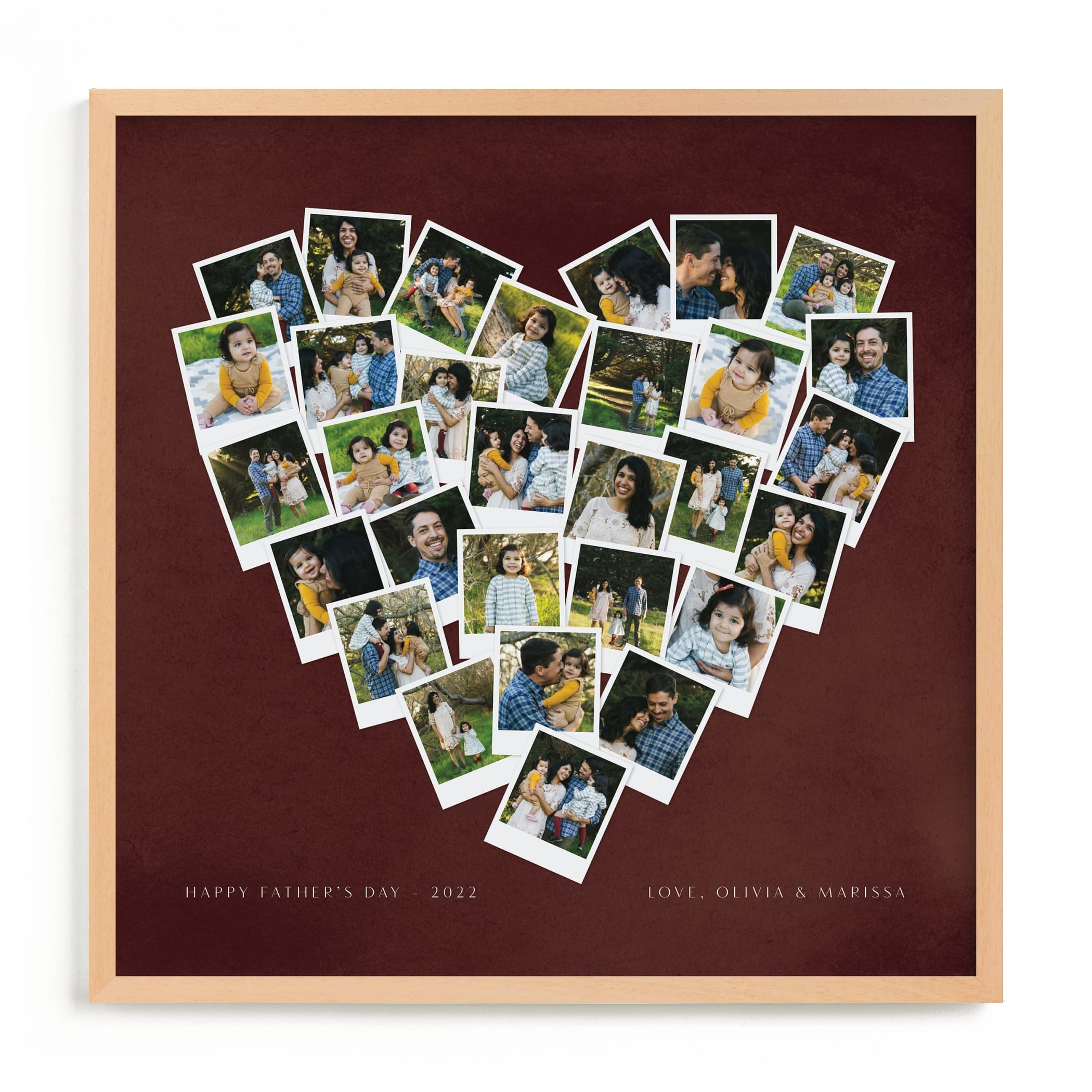 """""""Painted Hues Heart Snapshot Mix® Warm"""" - Custom Photo Art Print by Minted in beautiful frame options and a variety of sizes."""
