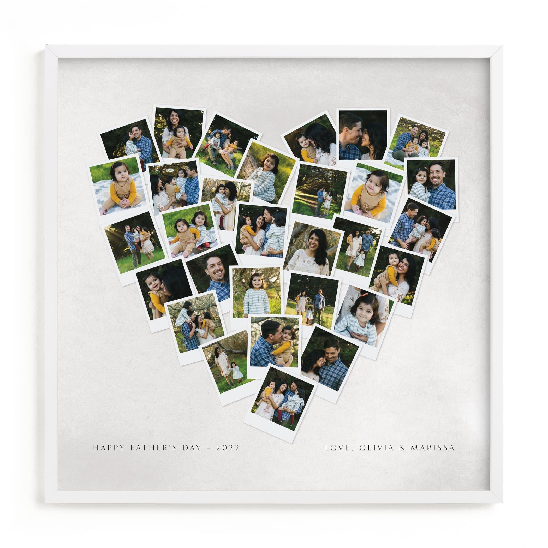 Painted Hues Heart Snapshot Mix® Cool Custom Photo Art Print