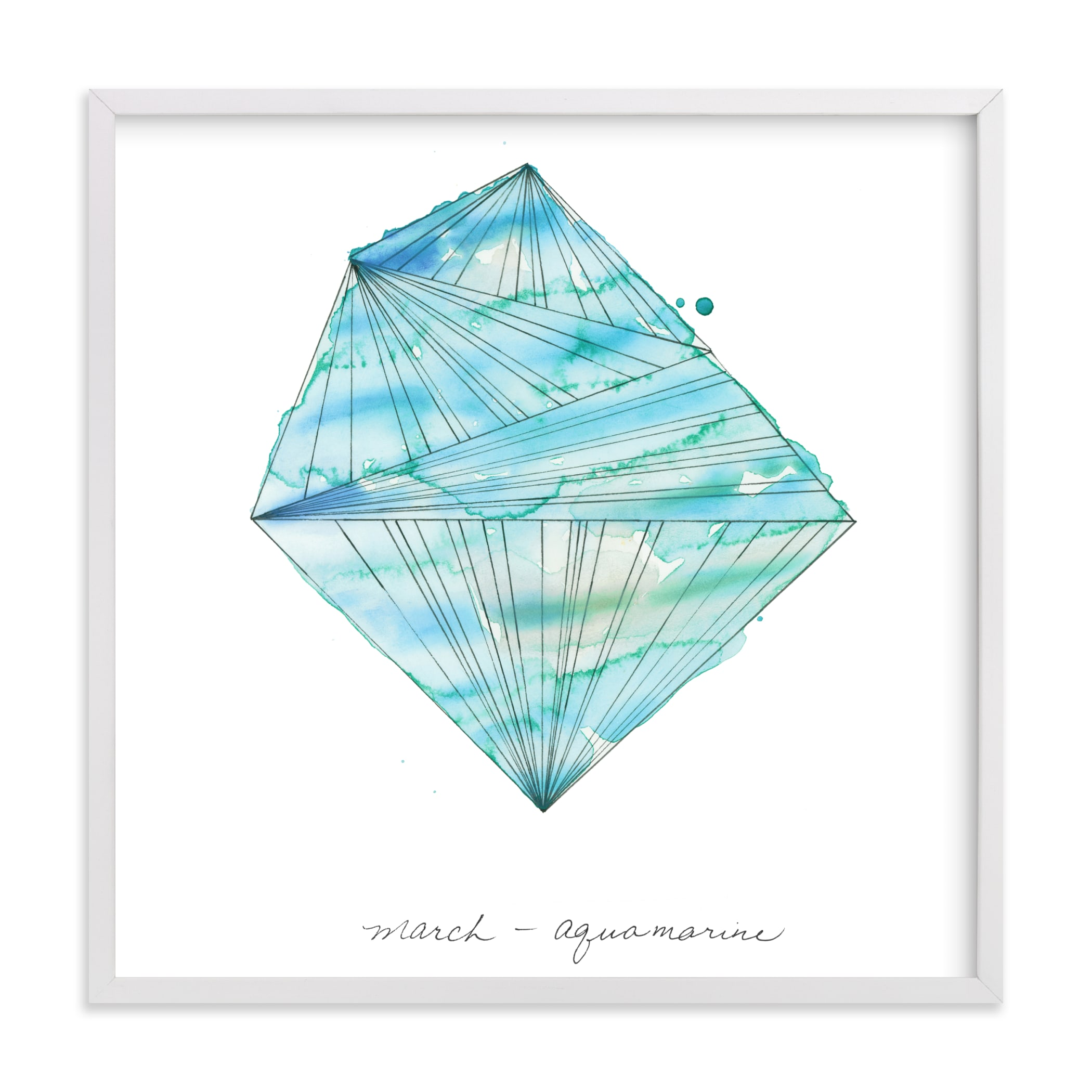 """""""March - Aquamarine"""" - Limited Edition Art Print by Naomi Ernest in beautiful frame options and a variety of sizes."""