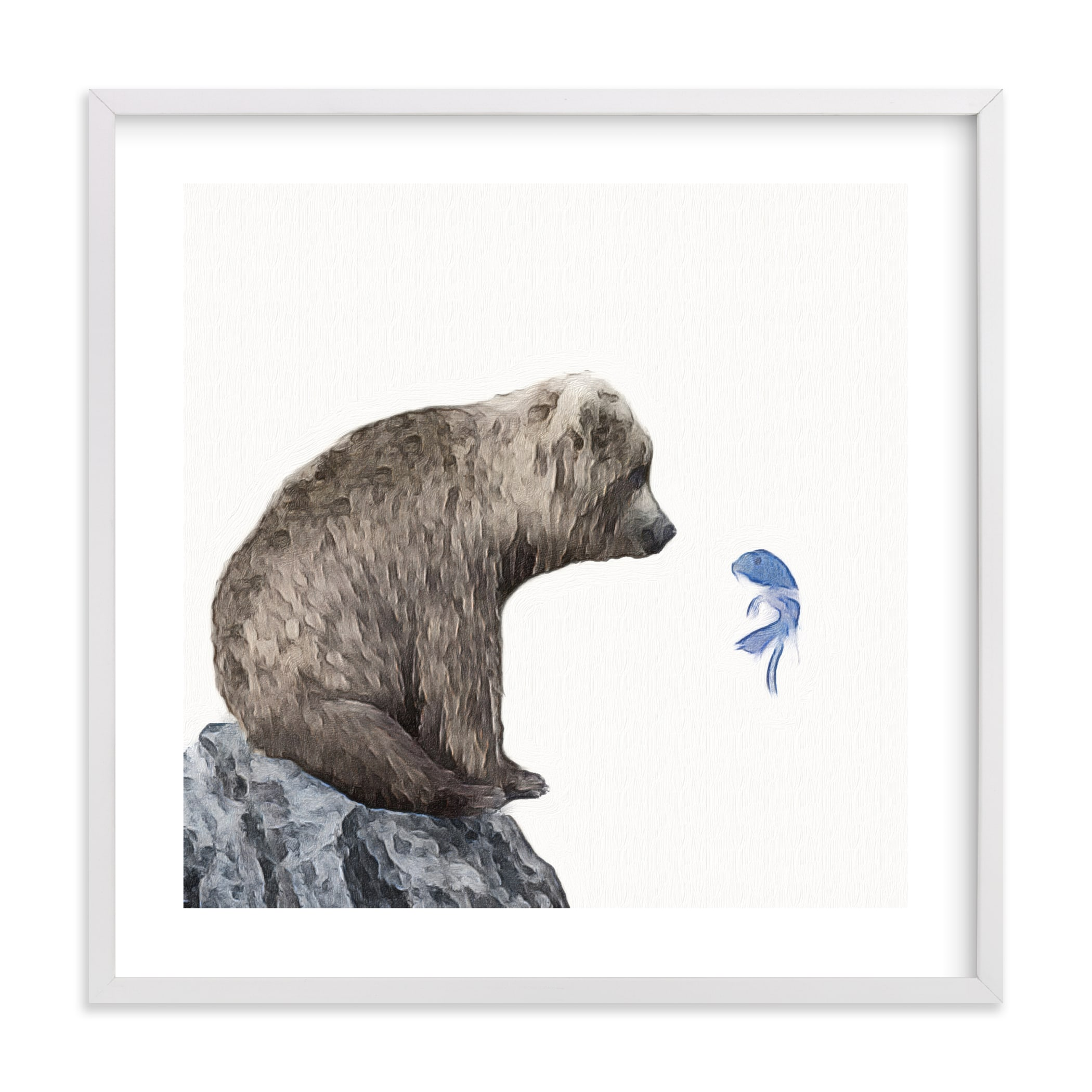 """""""Blue Fish Wish"""" - Limited Edition Art Print by Maja Cunningham in beautiful frame options and a variety of sizes."""