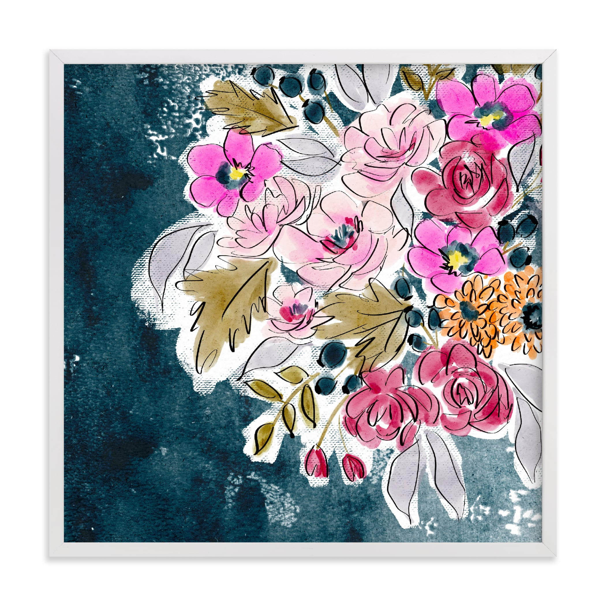 """Berry Blooms"" by Britt Mills in beautiful frame options and a variety of sizes."