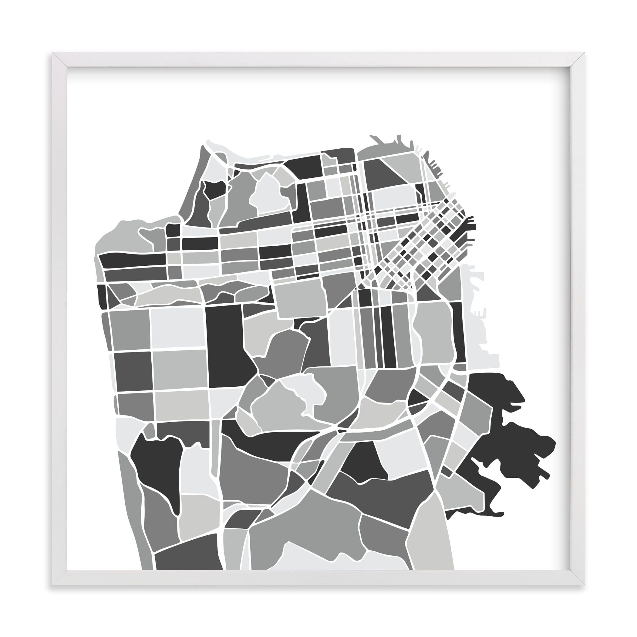 """""""San Francisco City Map"""" by Jessie Steury in beautiful frame options and a variety of sizes."""