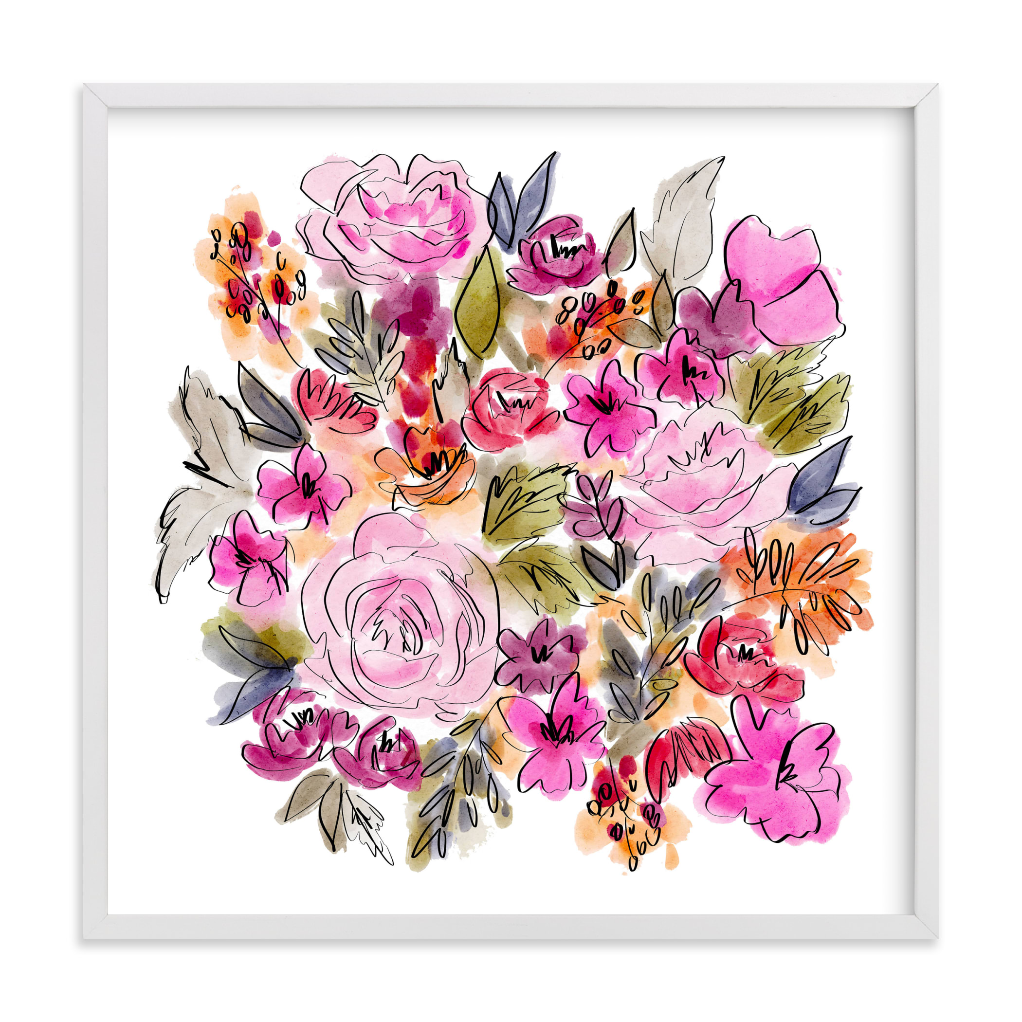 """""""Happy Blooms II"""" by Britt Mills in beautiful frame options and a variety of sizes."""