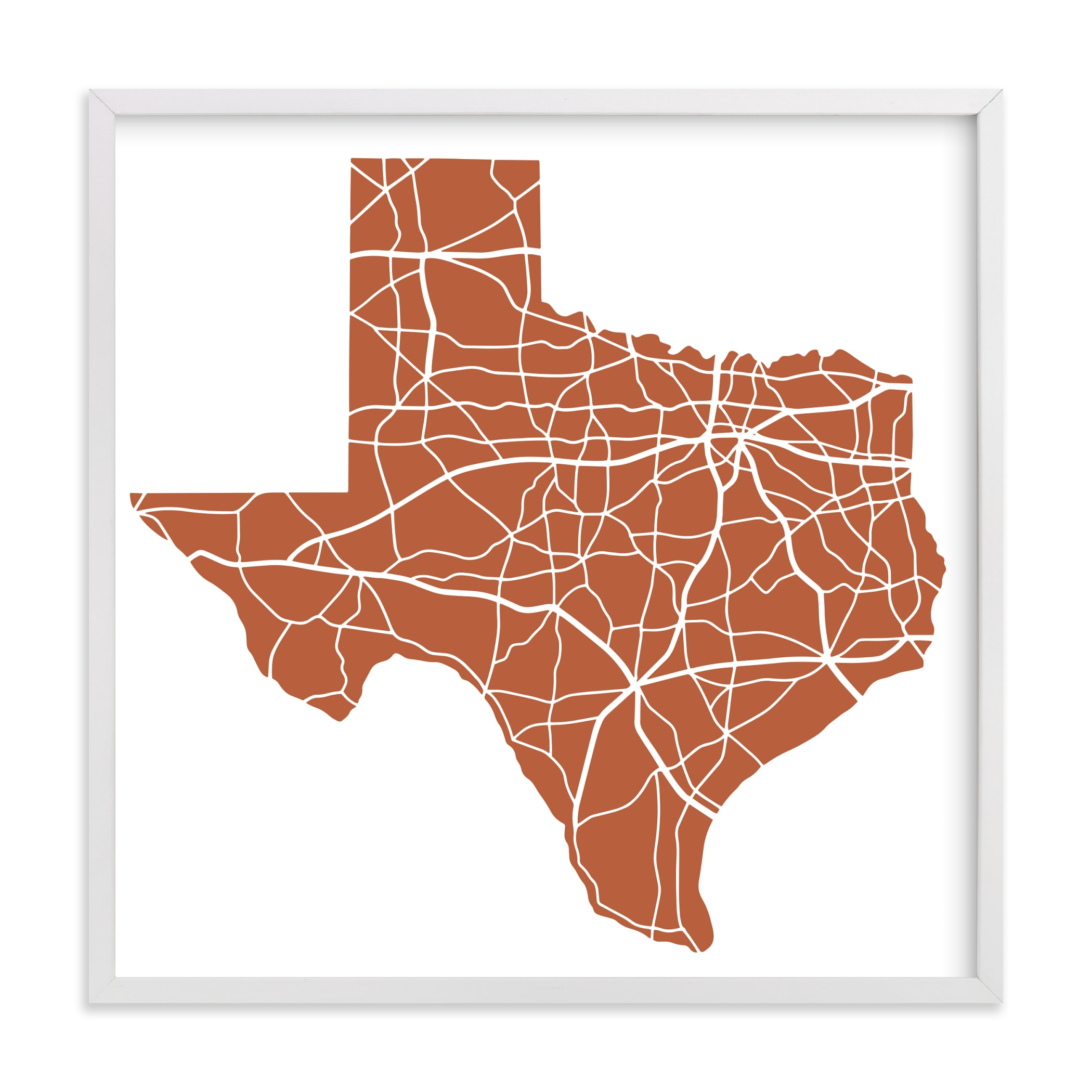 """""""Texas Highway Map"""" by Jessie Steury in beautiful frame options and a variety of sizes."""