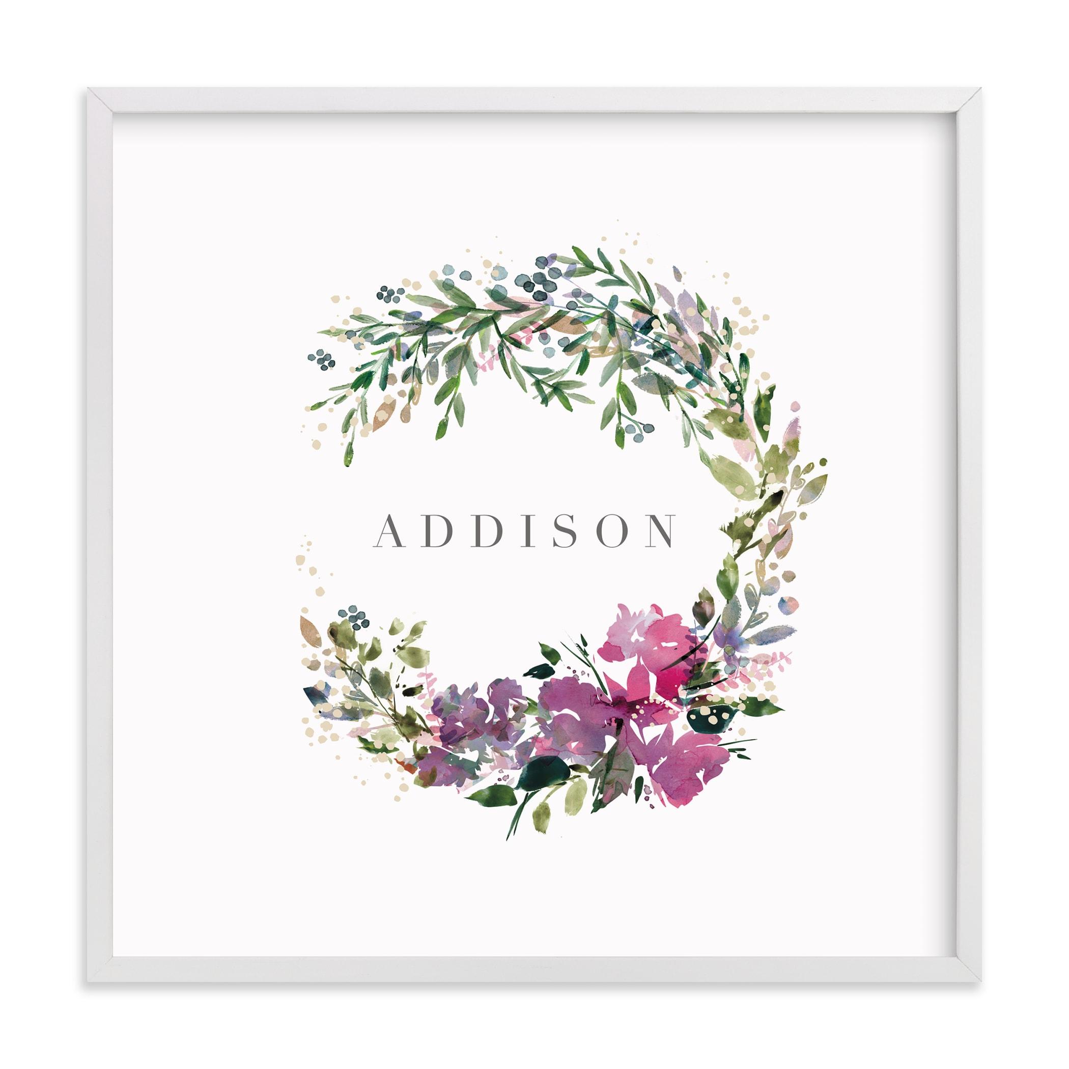 Botanical Name Wreath Nursery Custom Art Print