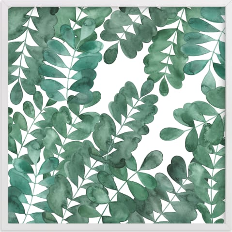 This is a white art by Natalie Ryan called Leafy Bowers.