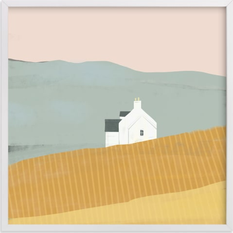 This is a yellow art by Laura Mitchell called Little White House on Prairie.