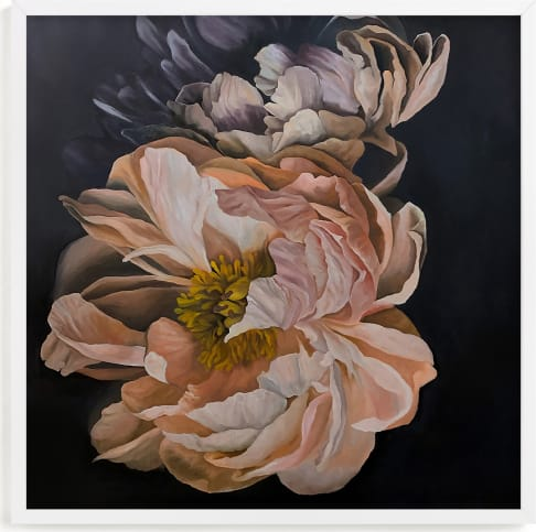 This is a purple art by Sami Jacq called two peonies.