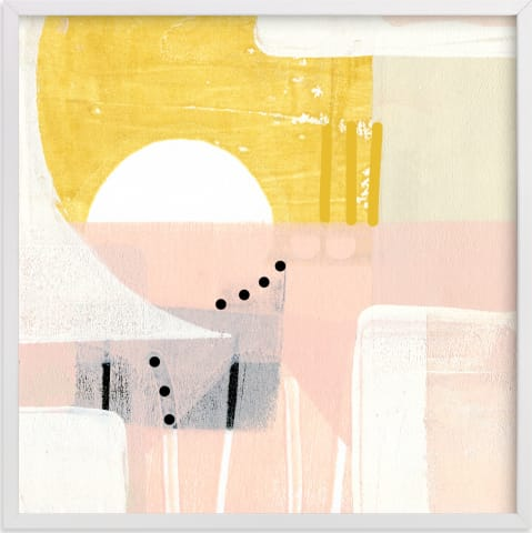 This is a white art by Jaqui Falkenheim called Sunny and dots I.