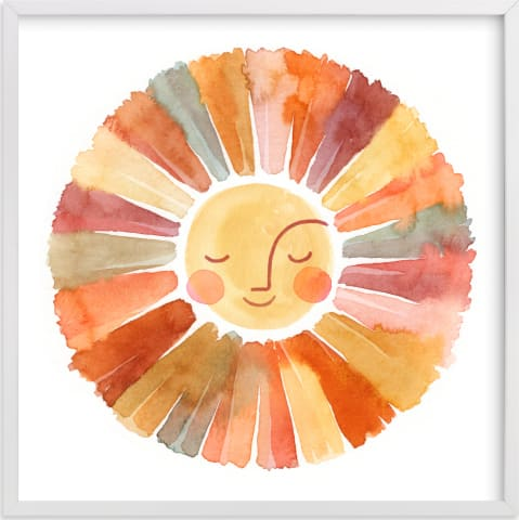 This is a beige kids wall art by Sara Berrenson called Sun Face.