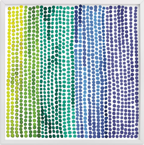 This is a blue kids wall art by Paper Dahlia called Rainbow Dots 2.