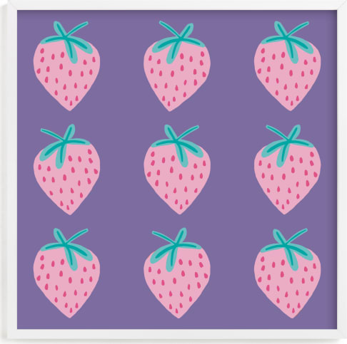 This is a purple kids wall art by Paper Dahlia called Strawberry.