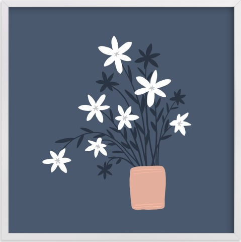 This is a blue kids wall art by Betsy Siber called Wildflower Bunch.