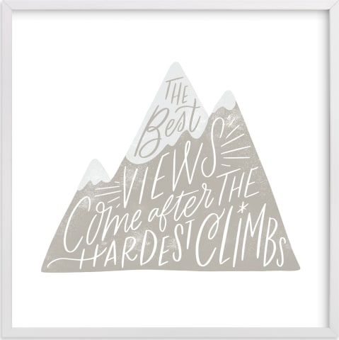 This is a ivory kids wall art by Alethea and Ruth called Mountain Climb.