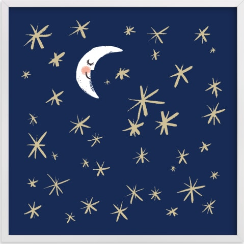 This is a blue kids wall art by Patrice Horvath called Good Night Moon and Stars.