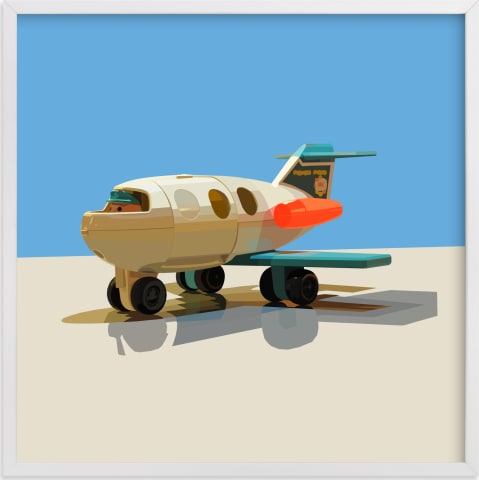 This is a blue kids wall art by John Andrew Ward called Toy Jet.