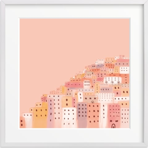 This is a yellow kids wall art by Laura Mitchell called Positano Houses.