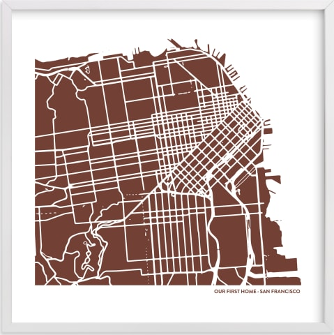 This is a red custom map printing by Minted called Custom Filled Map Art.