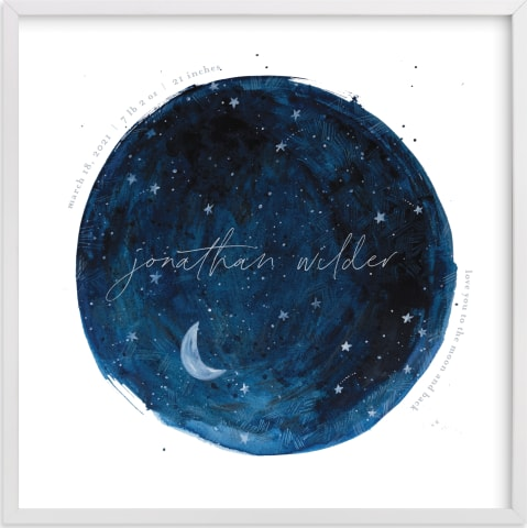 This is a blue nursery wall art by Krissy Bengtson called Lunar.