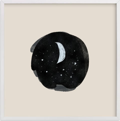 This is a white nursery wall art by Nancy Noreth called Little Moon.