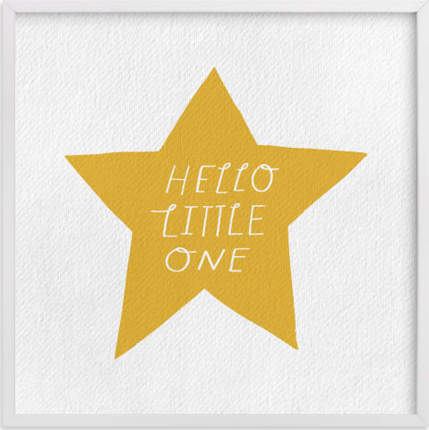 This is a white nursery wall art by Little Miss Missy called Hello Little One.