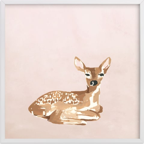 This is a brown nursery wall art by Teju Reval called Enchanted Deer I.