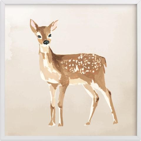 This is a brown nursery wall art by Teju Reval called Enchanted Deer II.