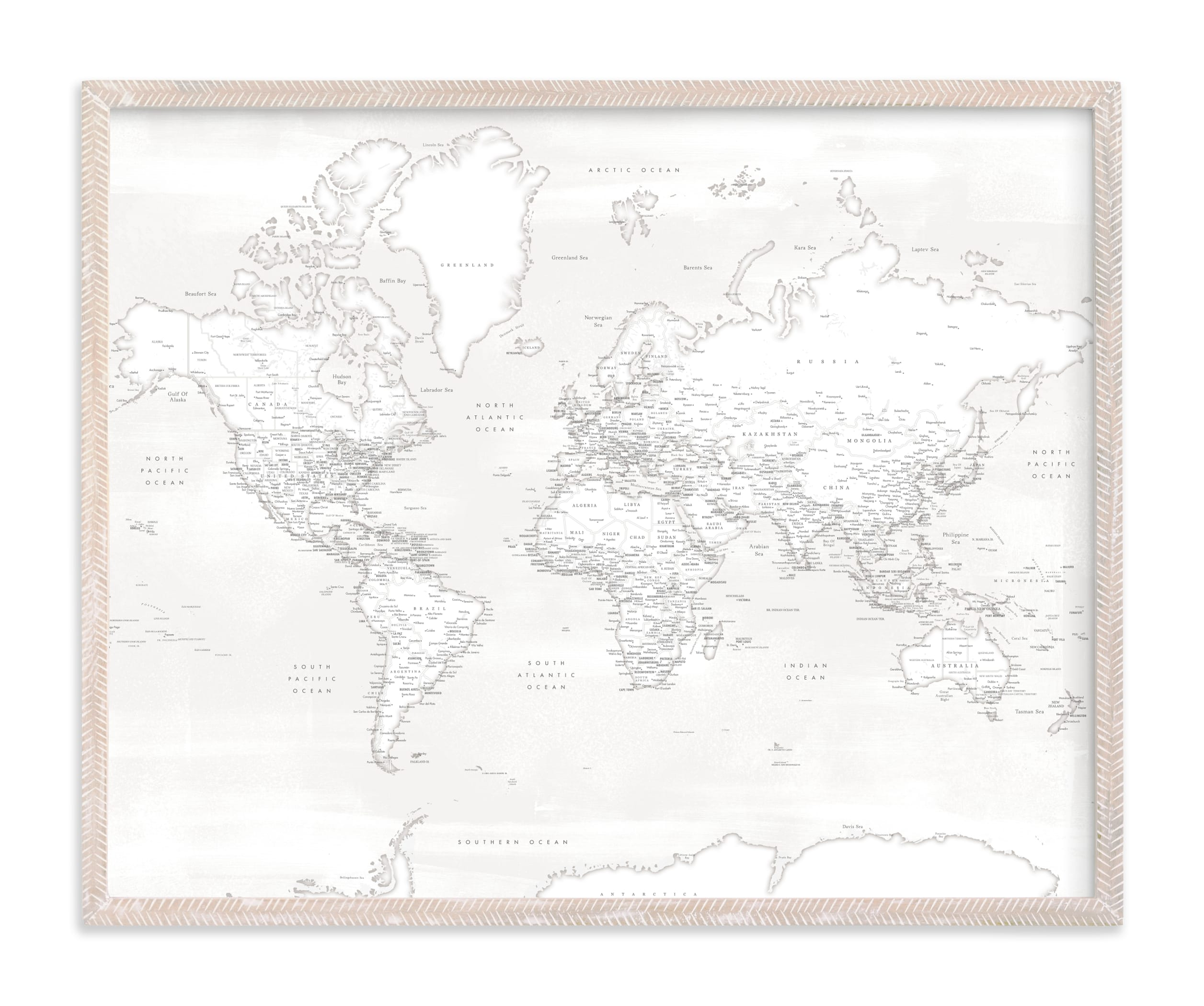 """Maeli white detailed world map"" by Rosana Laiz Blursbyai in beautiful frame options and a variety of sizes."