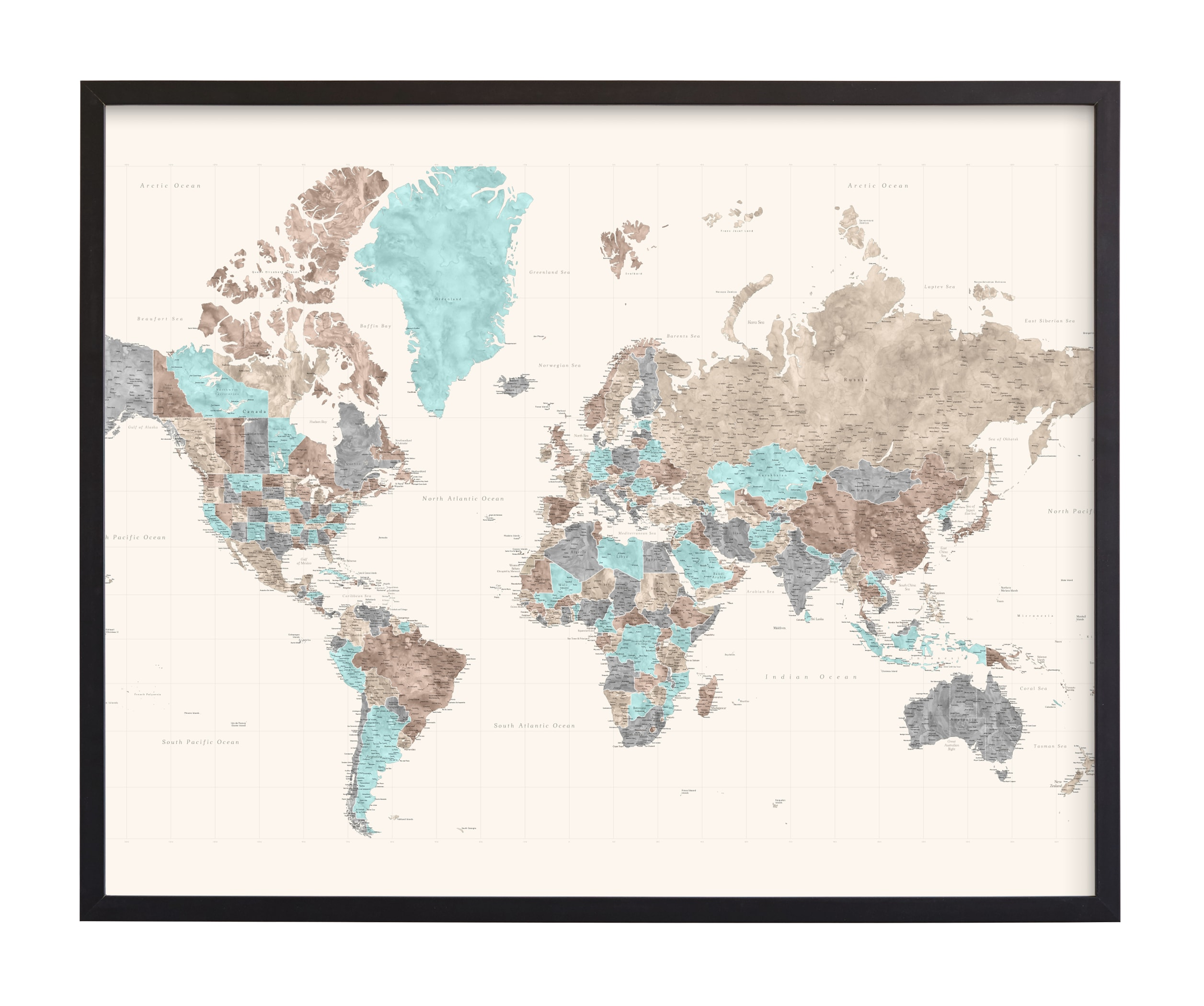 """""""Highly detailed watercolor world map"""" by Rosana Laiz Blursbyai in beautiful frame options and a variety of sizes."""