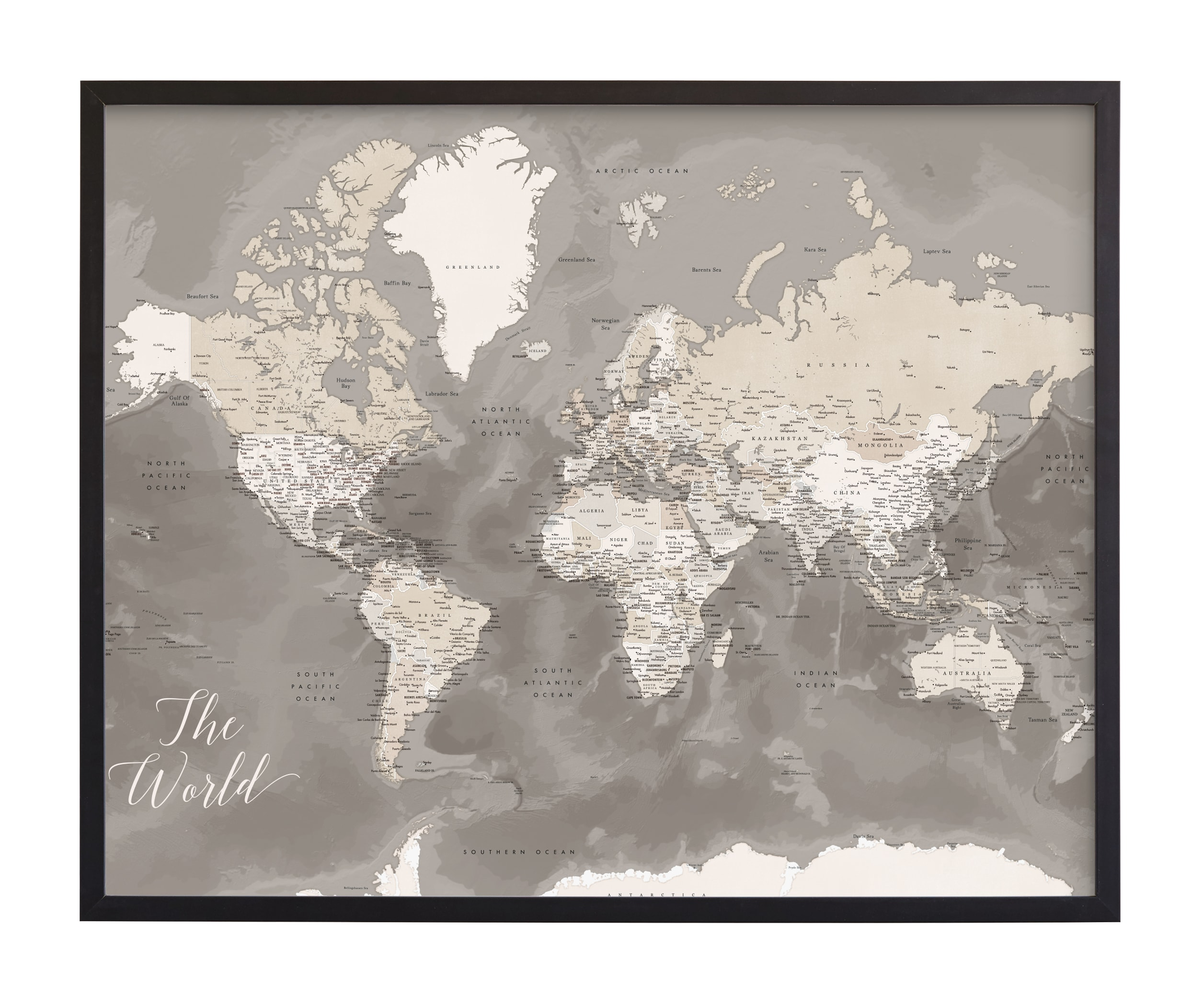 """""""Davey detailed world map"""" by Rosana Laiz Blursbyai in beautiful frame options and a variety of sizes."""
