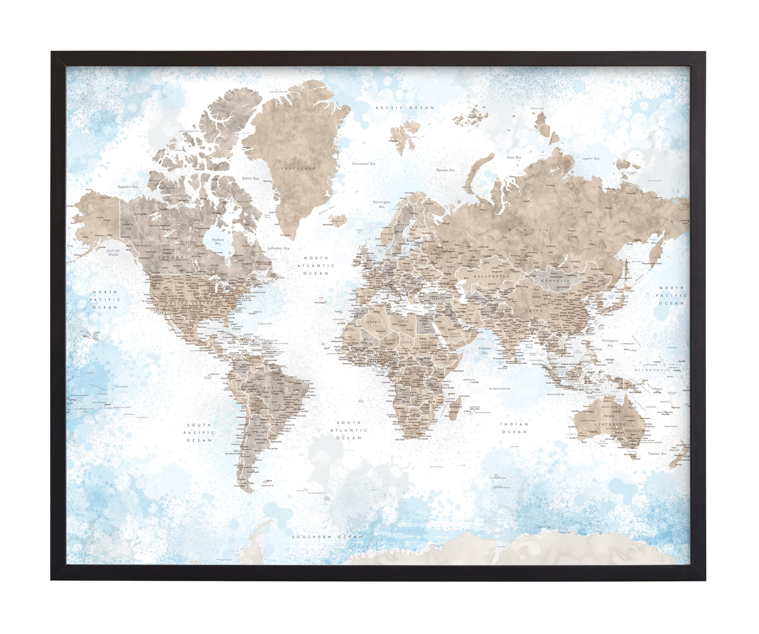 """""""Ghada detailed world map"""" by Rosana Laiz Blursbyai in beautiful frame options and a variety of sizes."""