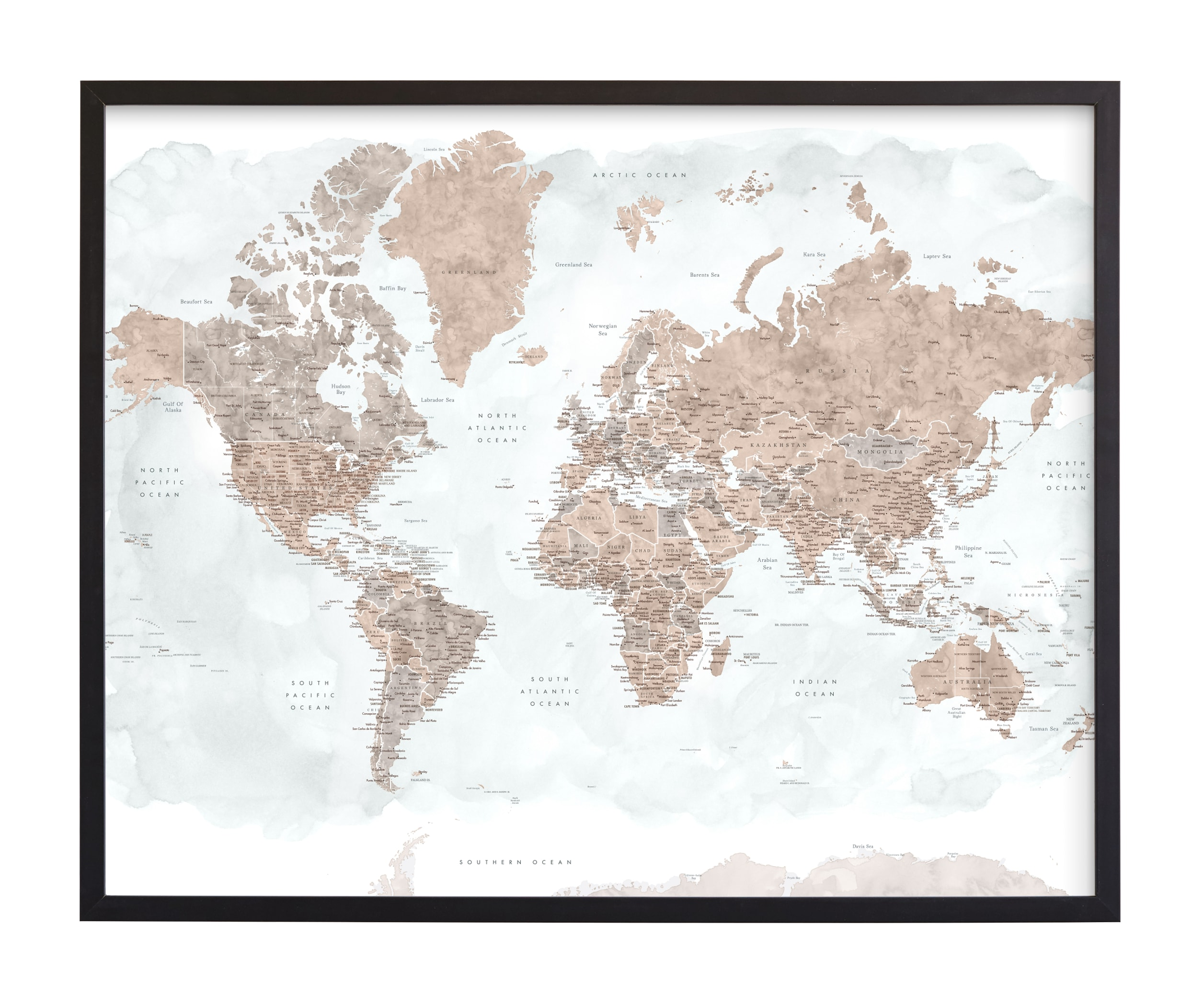 """Calista detailed watercolor world map"" by Rosana Laiz Blursbyai in beautiful frame options and a variety of sizes."