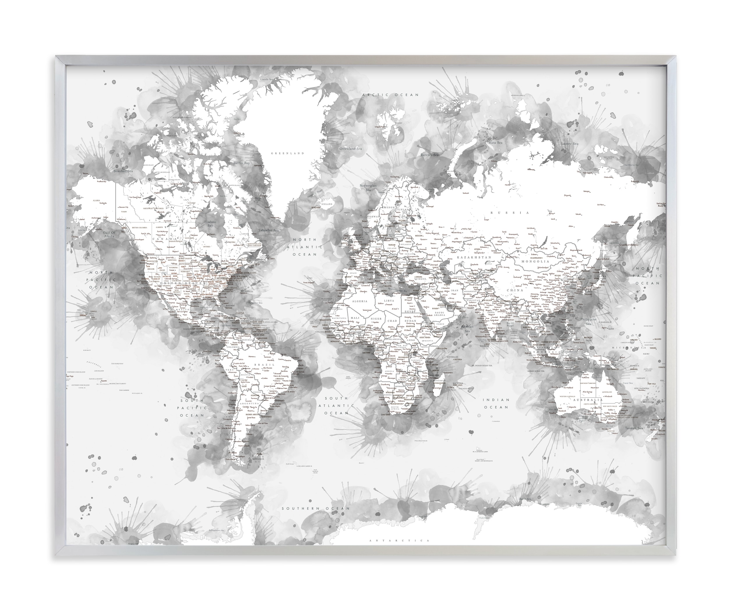 """Loui watercolor world map"" by Rosana Laiz Blursbyai in beautiful frame options and a variety of sizes."