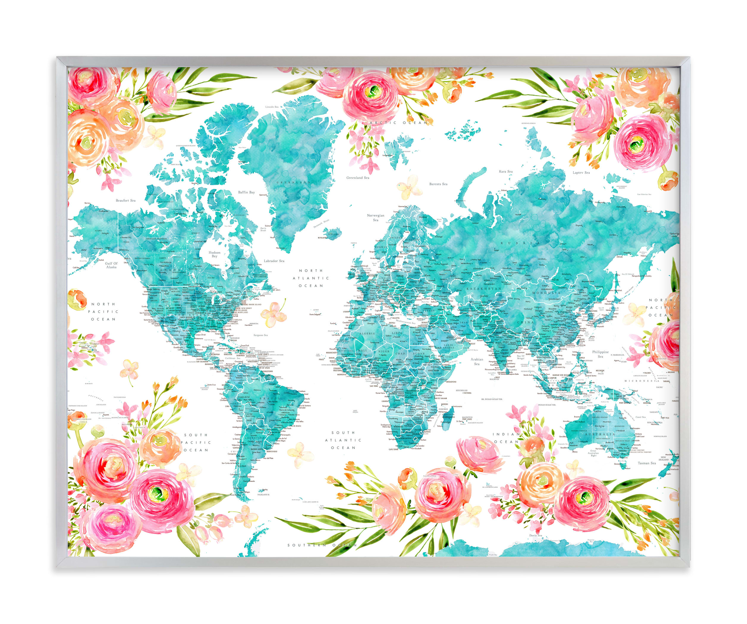 """""""Halen floral world map"""" by Rosana Laiz Blursbyai in beautiful frame options and a variety of sizes."""