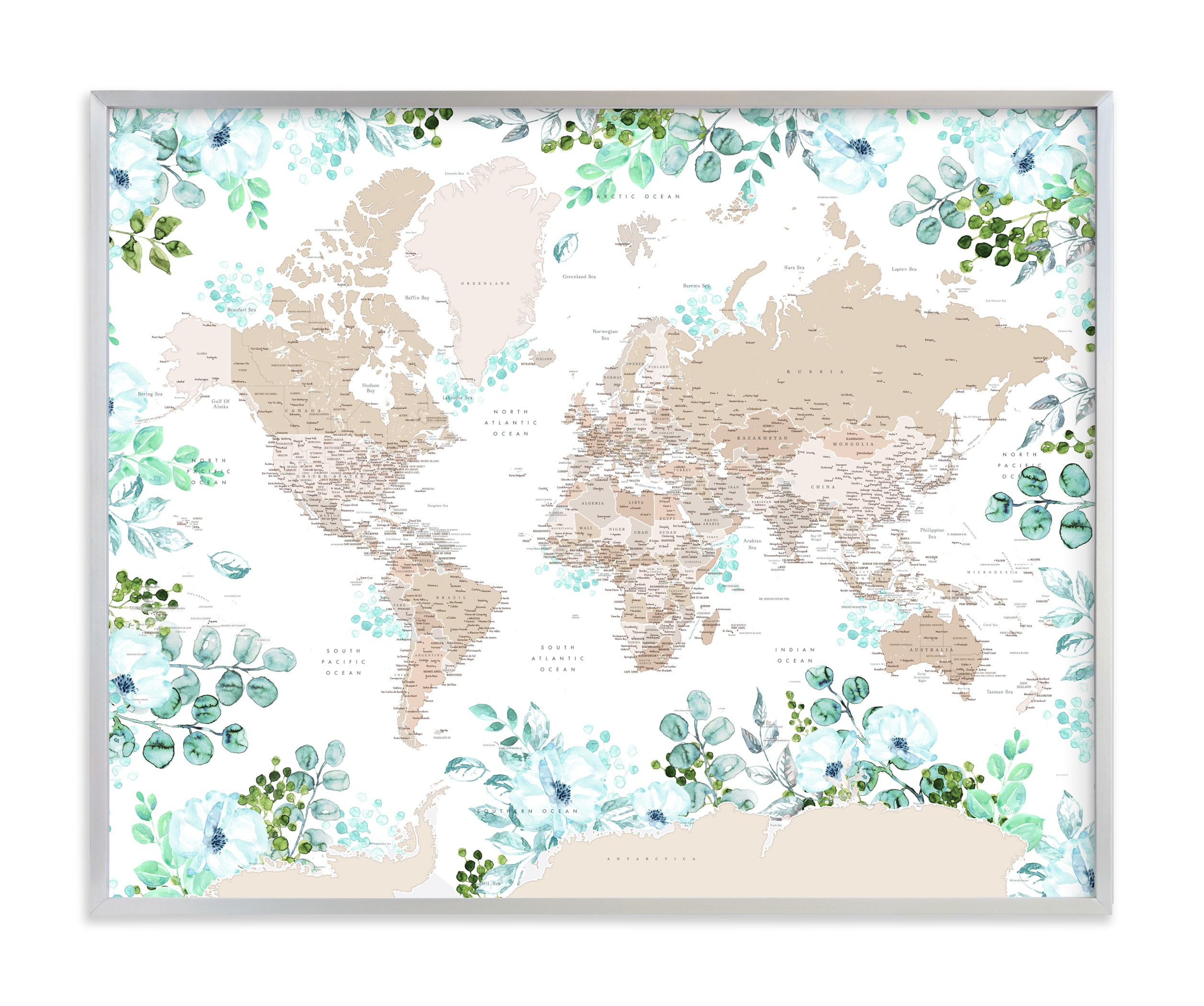 """""""Leanne floral world map"""" by Rosana Laiz Blursbyai in beautiful frame options and a variety of sizes."""