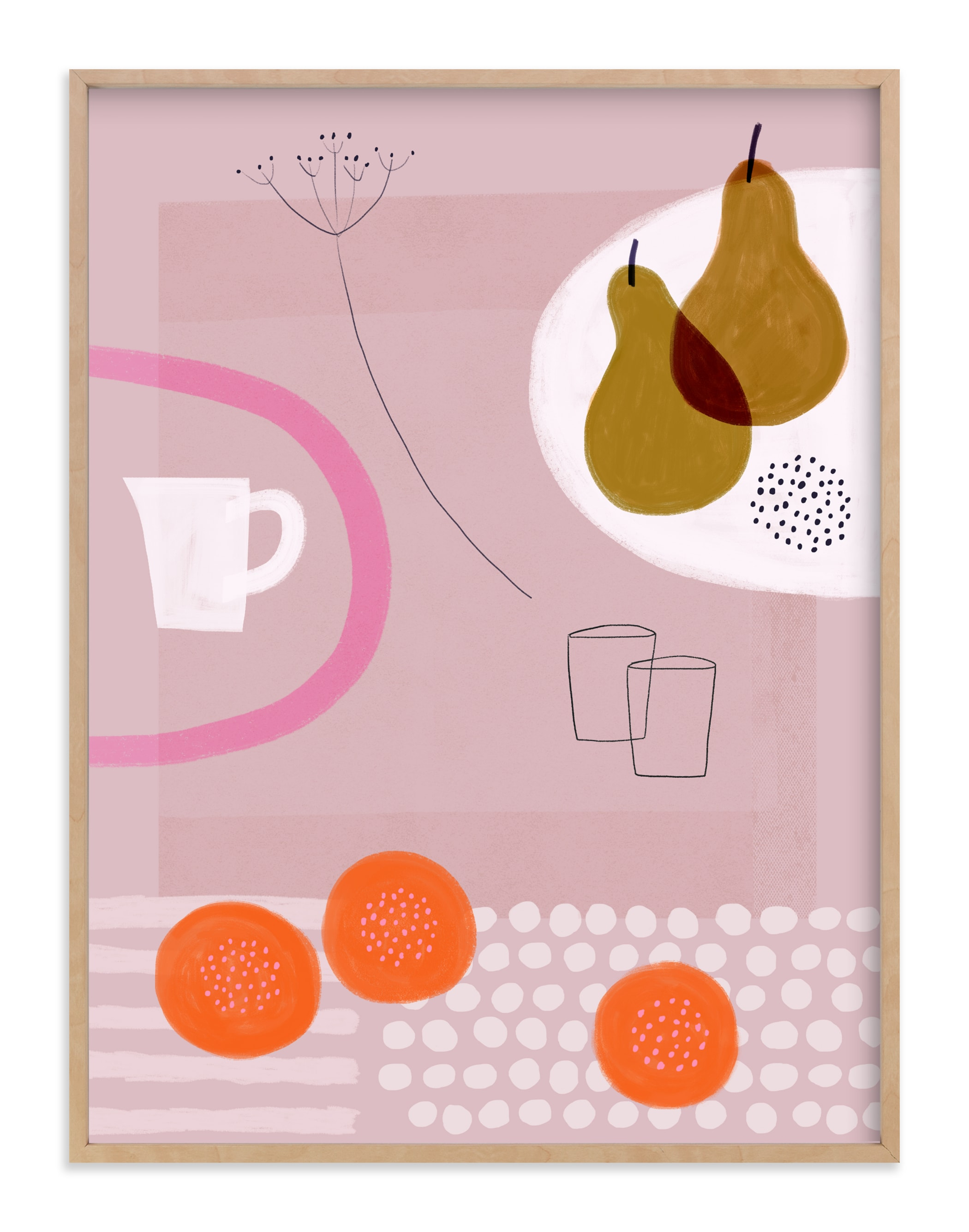 """Still Life with Yellow Pears"" - Art Print by Francesca Iannaccone in beautiful frame options and a variety of sizes."
