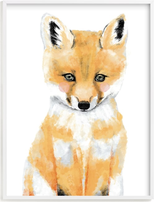 This is a grey kids wall art by Cass Loh called Baby Animal.Fox.