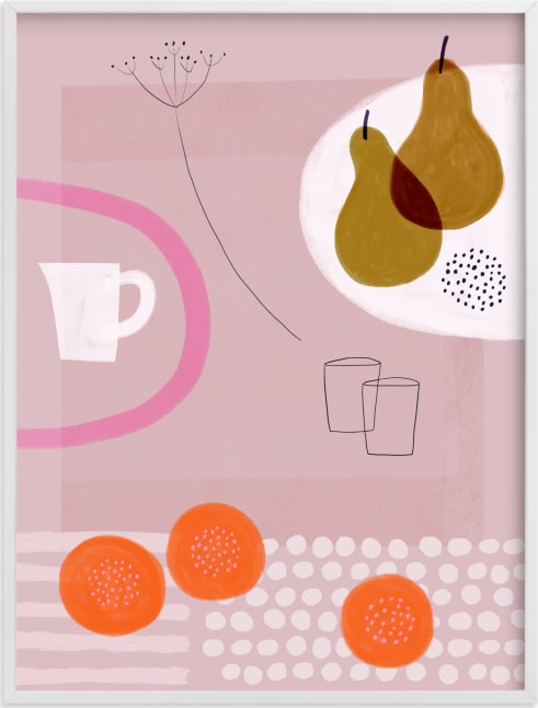 This is a pink art by Francesca Iannaccone called Still Life with Yellow Pears.
