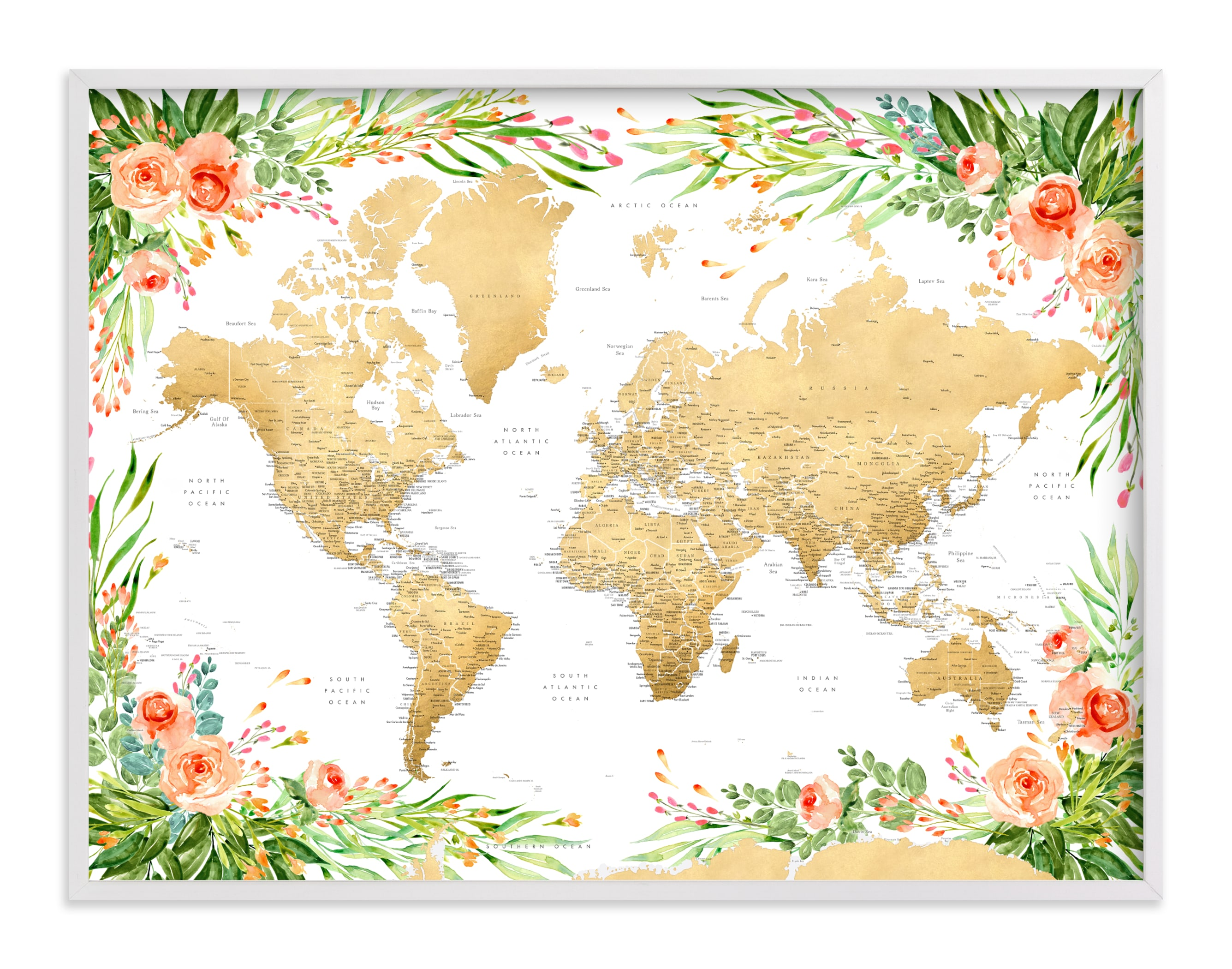 """""""Blythe floral world map with cities"""" by Rosana Laiz Blursbyai in beautiful frame options and a variety of sizes."""
