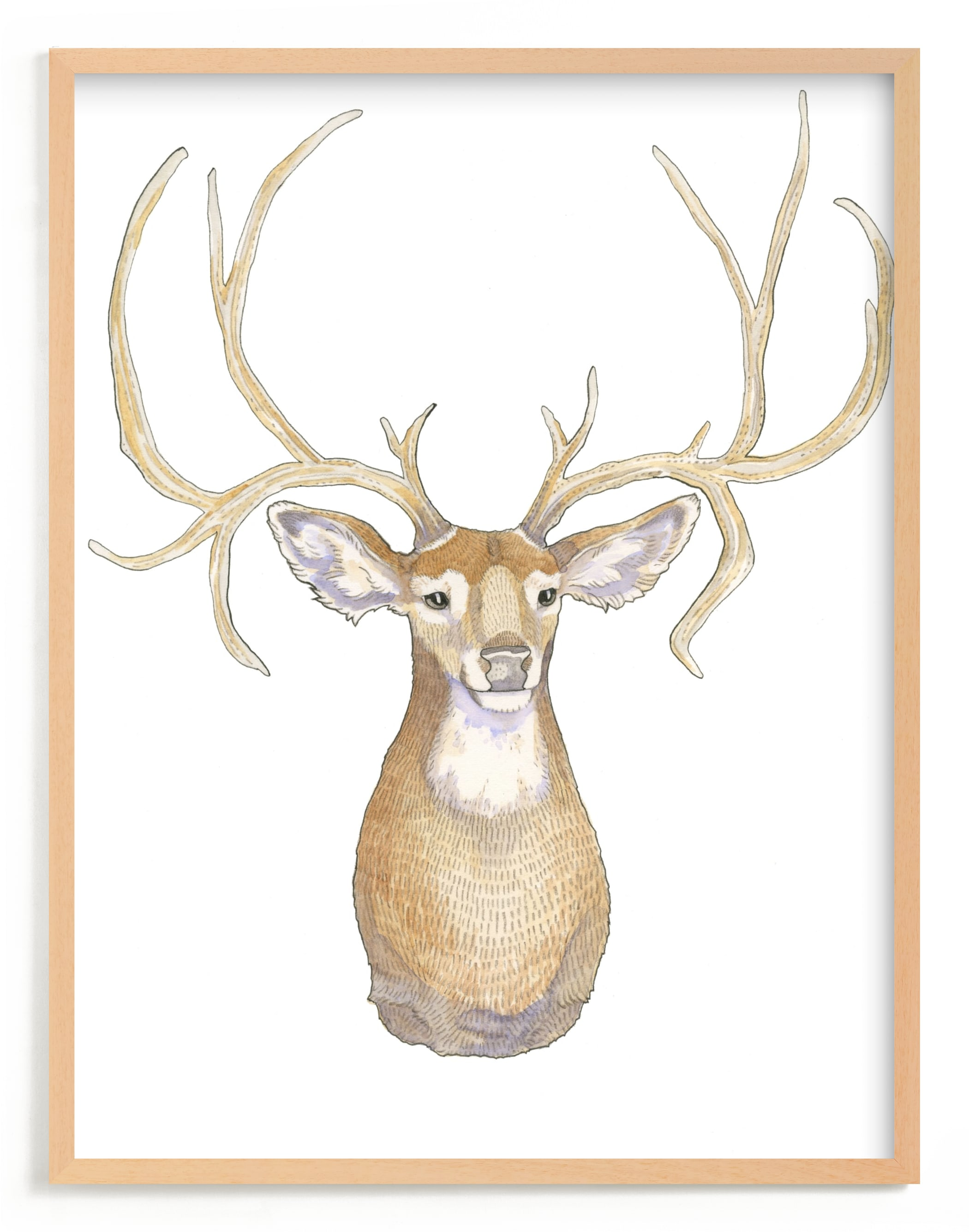 """""""Deer Mr. Buck"""" - Limited Edition Art Print by Natalie Groves in beautiful frame options and a variety of sizes."""