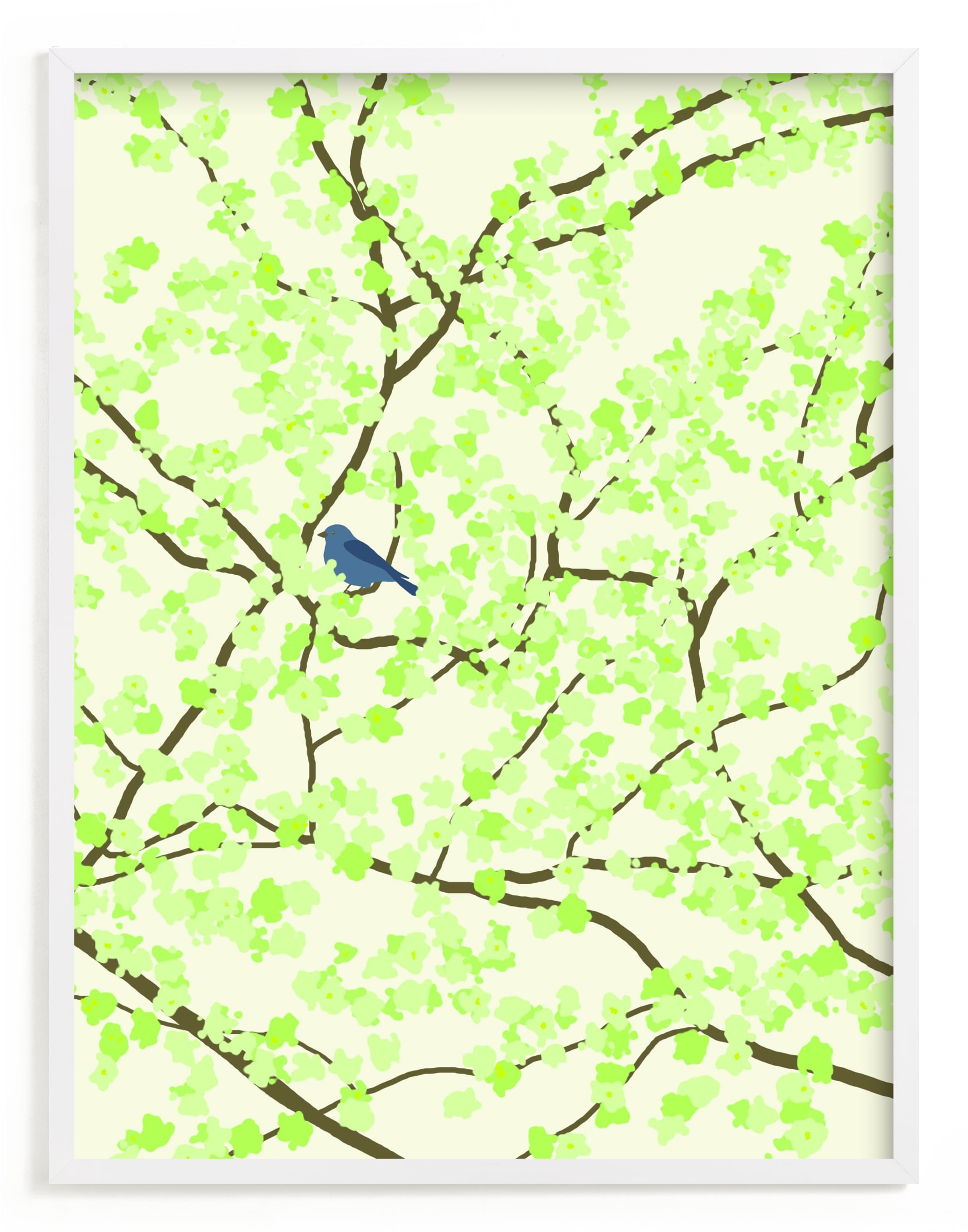 """""""Plum tree with Birds in Spring"""" - Limited Edition Art Print by Jorey Hurley in beautiful frame options and a variety of sizes."""
