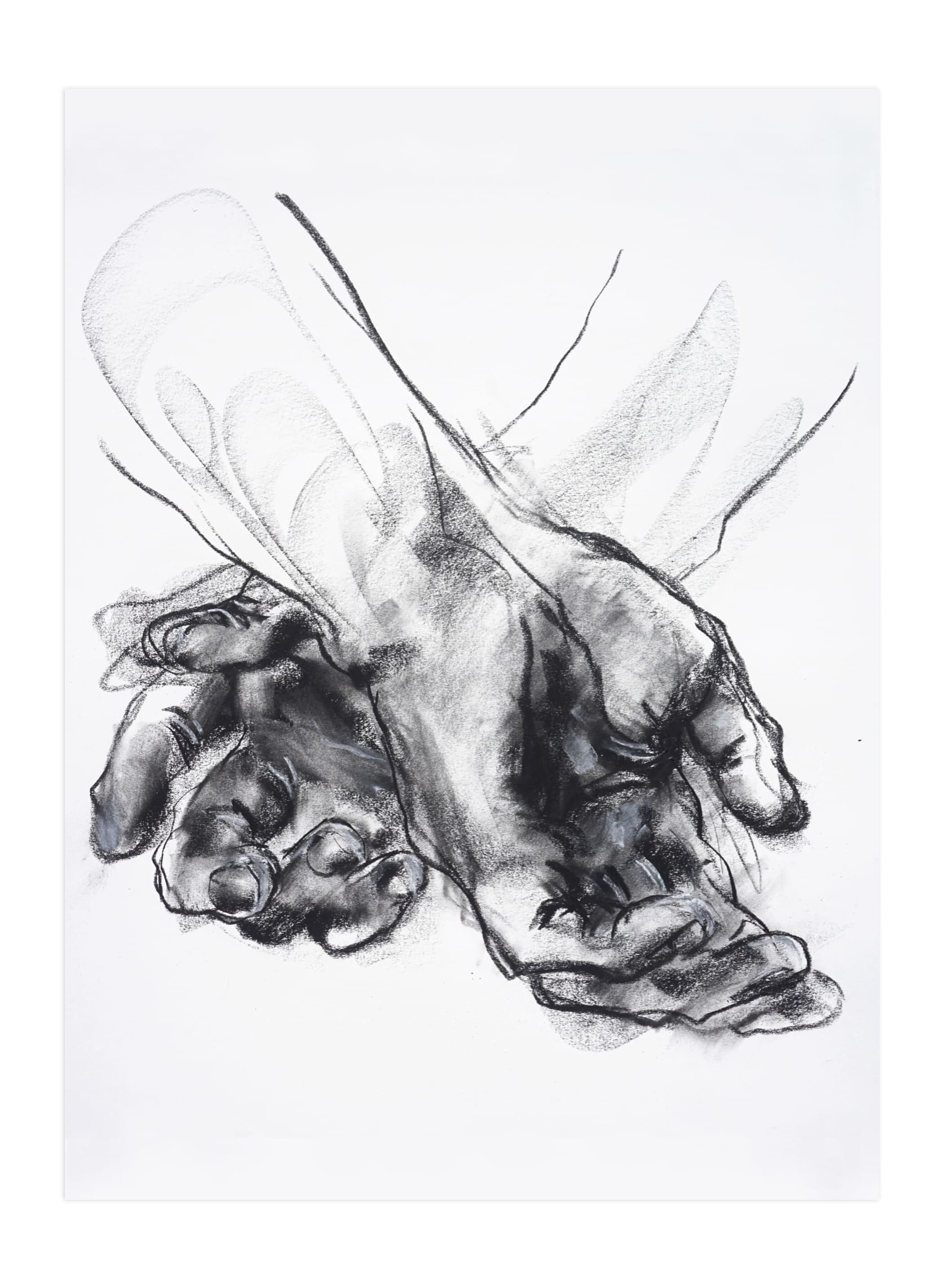 """""""Drawing 561 - Crossed Hands"""" - Limited Edition Art Print by Derek overfield in beautiful frame options and a variety of sizes."""