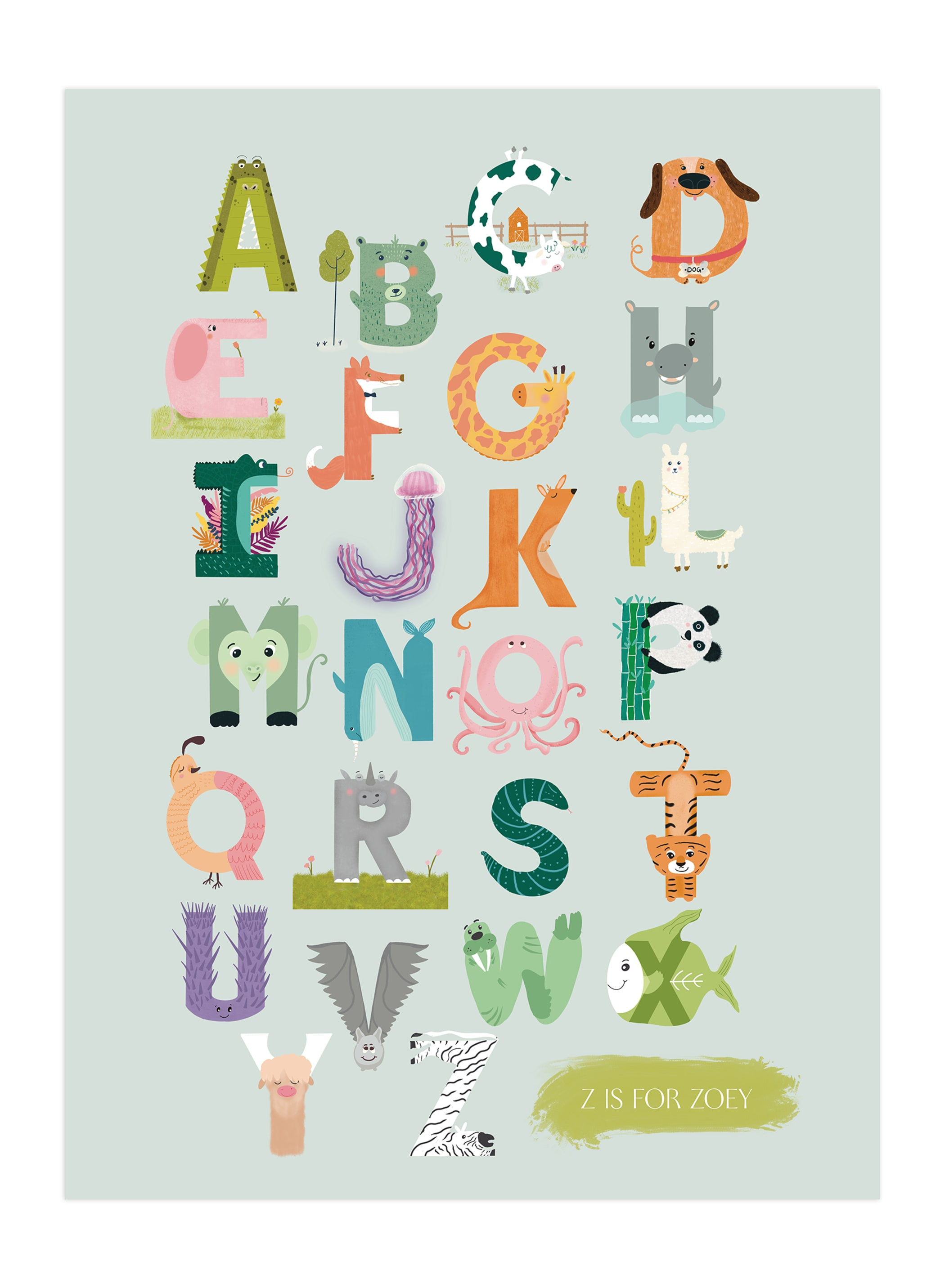 """Alphabet farm"" - Nursery Custom Art Print by Char-Lynn Griffiths in beautiful frame options and a variety of sizes."