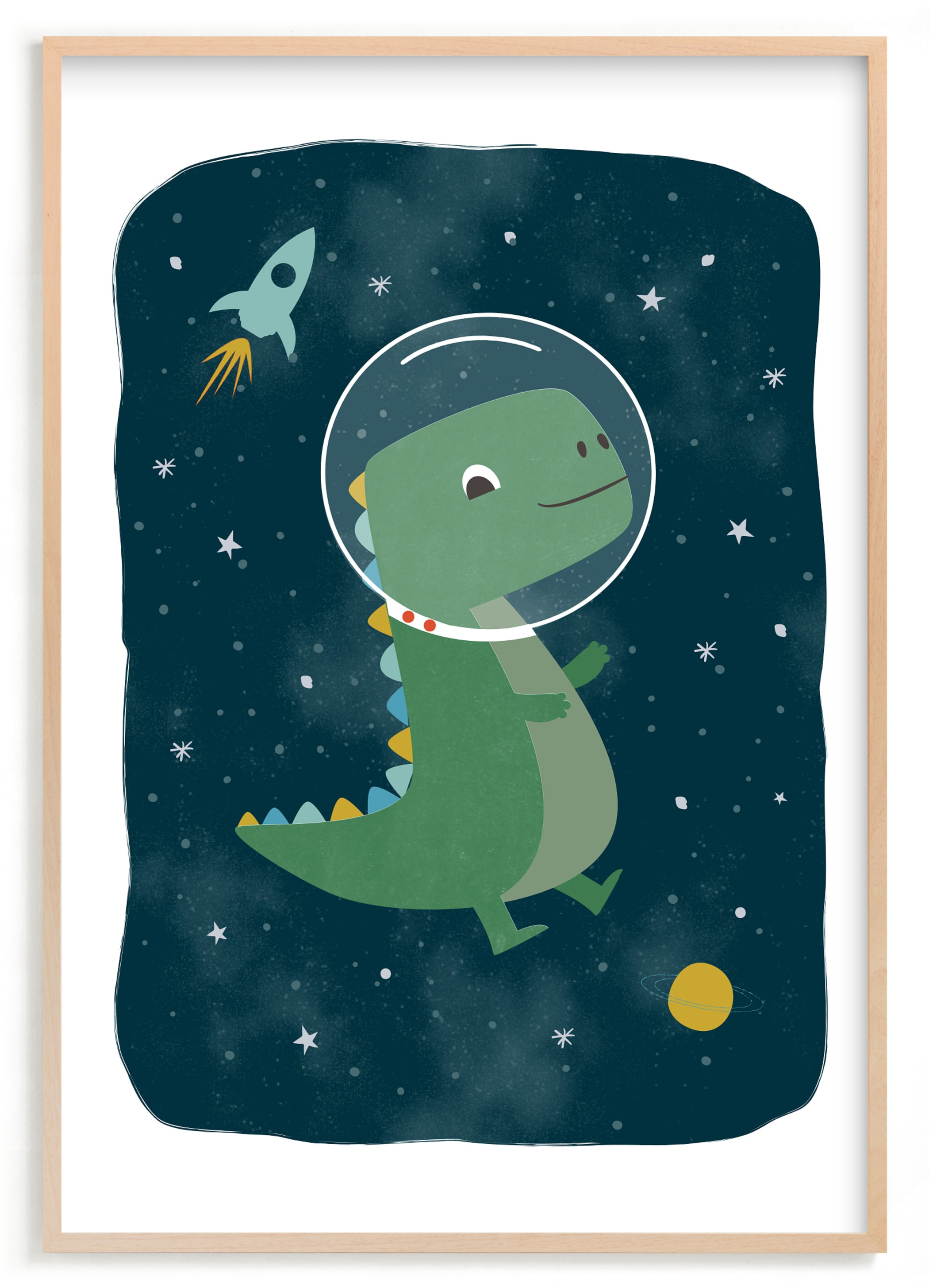 """""""Dinos in space"""" by Annie Holmquist in beautiful frame options and a variety of sizes."""