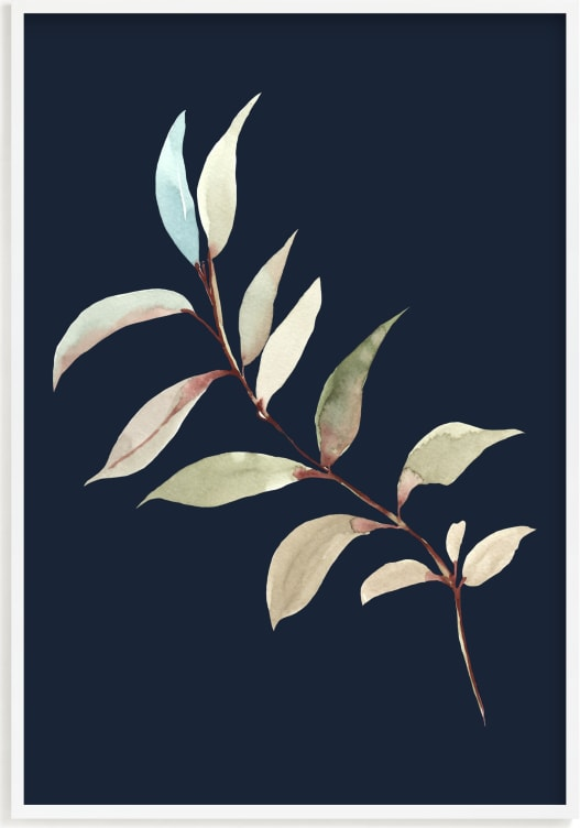 This is a blue art by Nika Martinez called Botanical Leaves in Blue I.