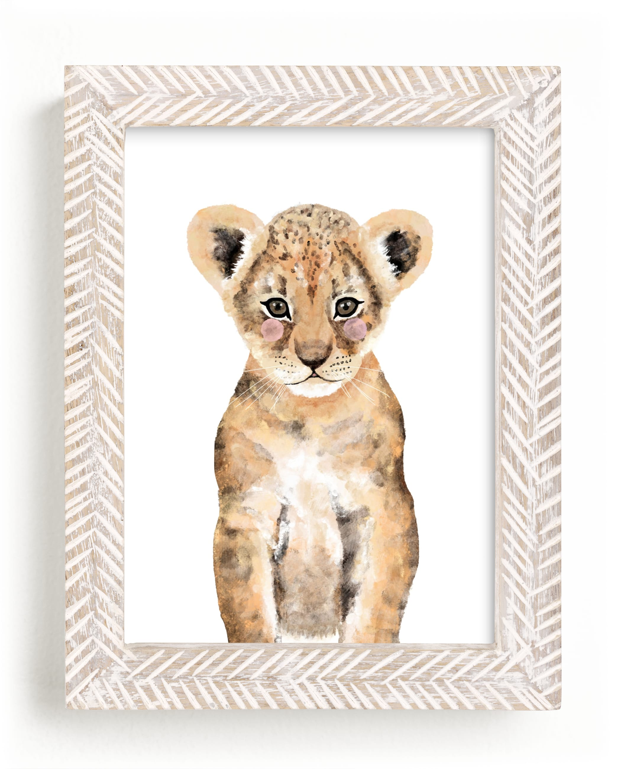 """Baby Animal Lion"" - Art Print by Cass Loh in beautiful frame options and a variety of sizes."