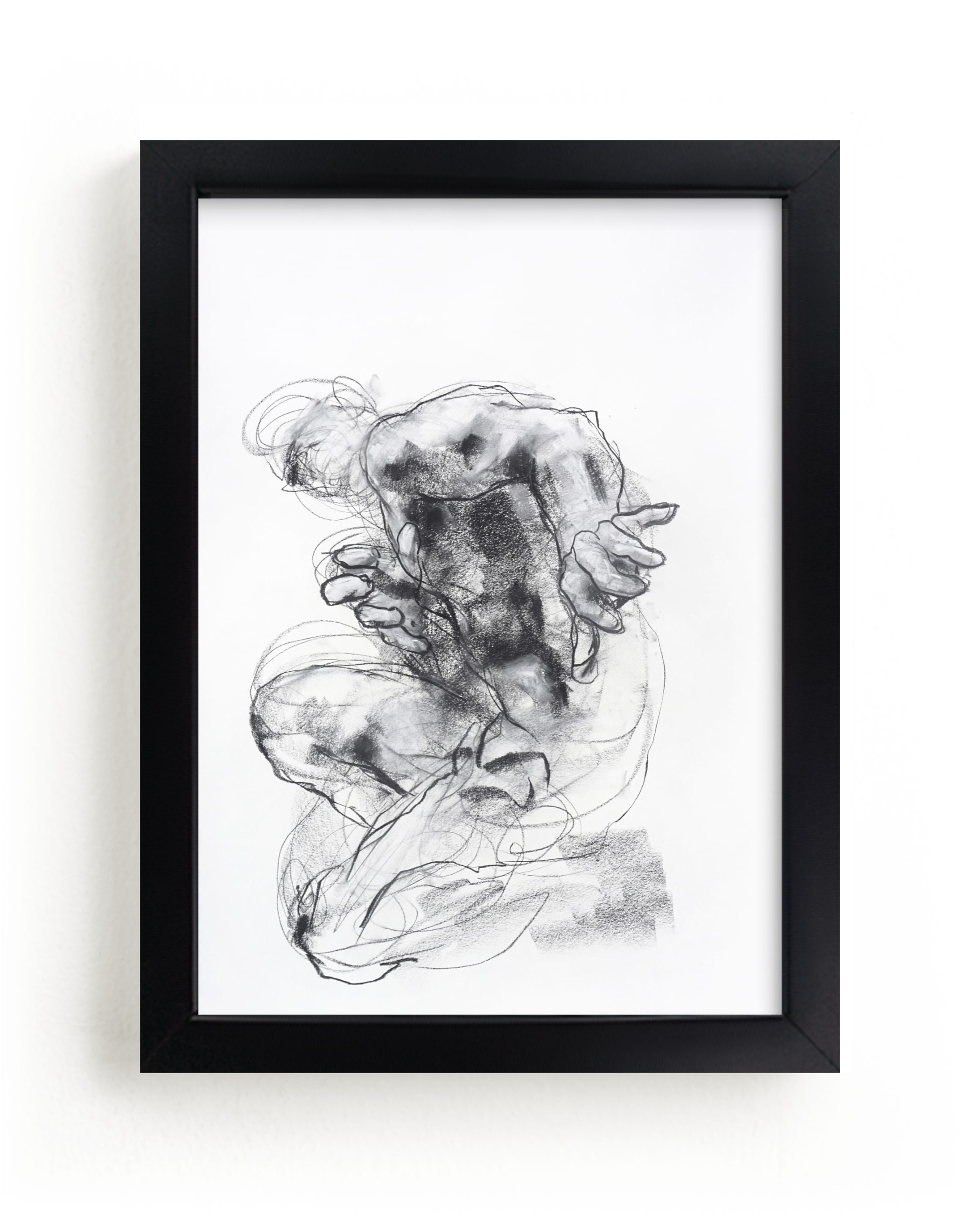 """Drawing 538 - Crouching Figure"" - Limited Edition Art Print by Derek overfield in beautiful frame options and a variety of sizes."