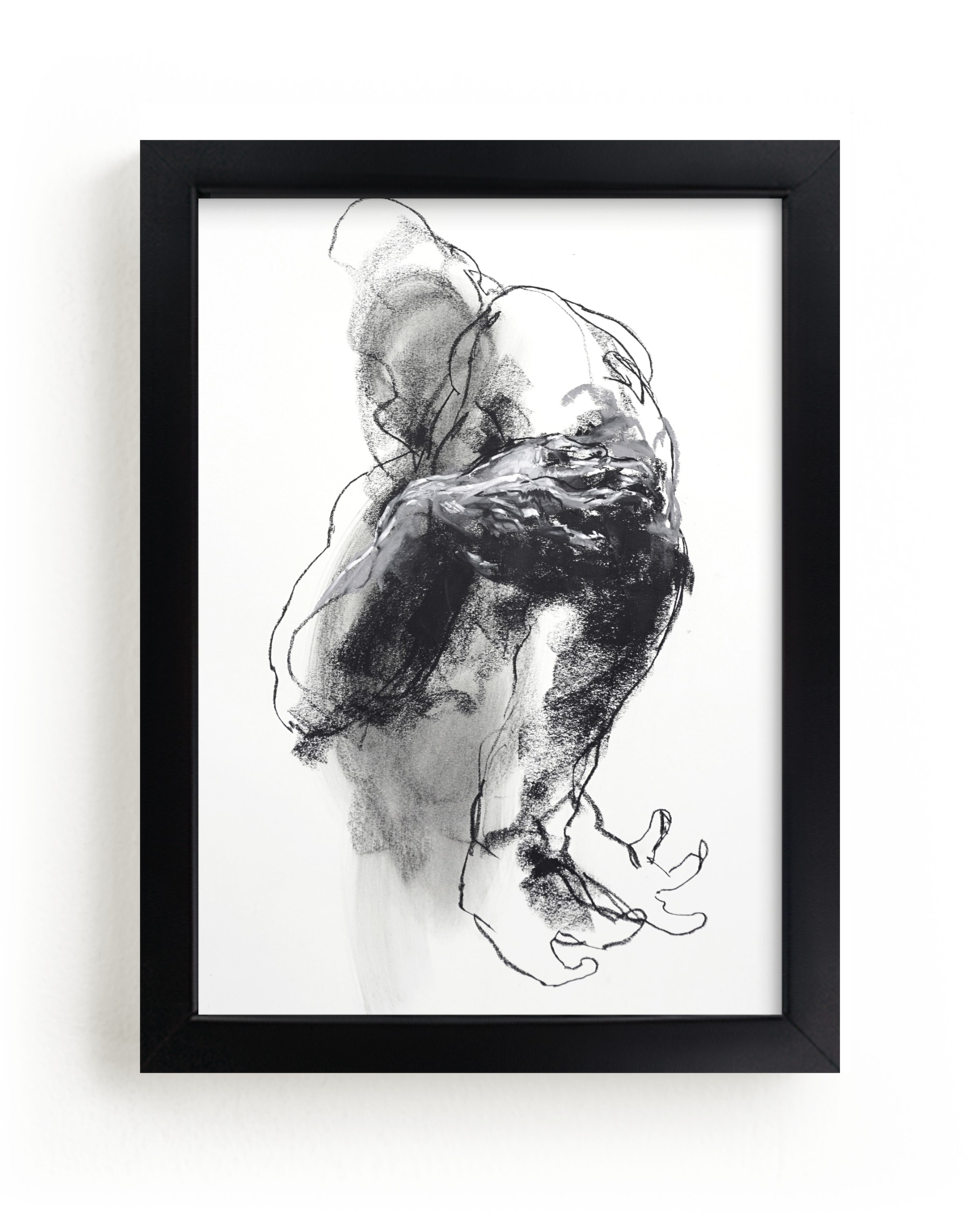 """""""Drawing 340 - Grasping Man"""" - Limited Edition Art Print by Derek overfield in beautiful frame options and a variety of sizes."""